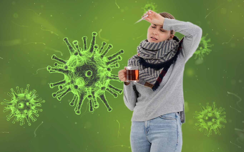 Femme malade avec infection et inflammation