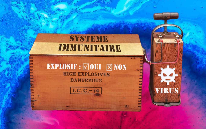Virus, détonateur relié au système immunitaire, explosif ou non